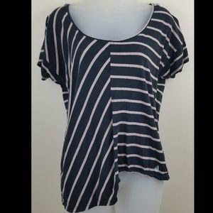 Volcom Striped Asymmetrical Uneven Hem Tee Shirt M